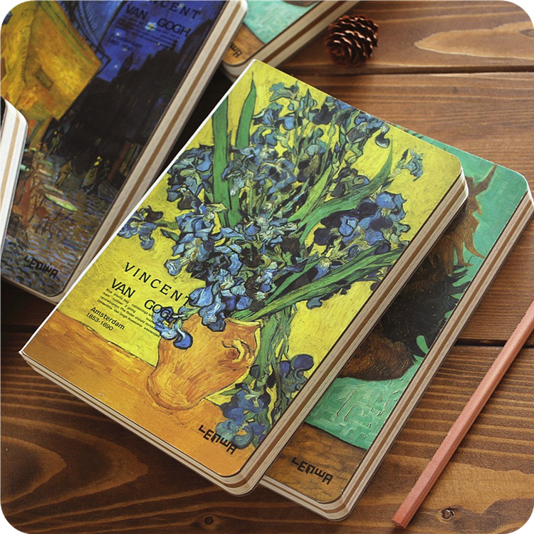 Vincent van Gogh Hard Copybook Thick Cover Blank Pages Hardcover Notebook Fashion Vintage Diary Sketchbook Jotter Work-book WZ(China (Mainland))