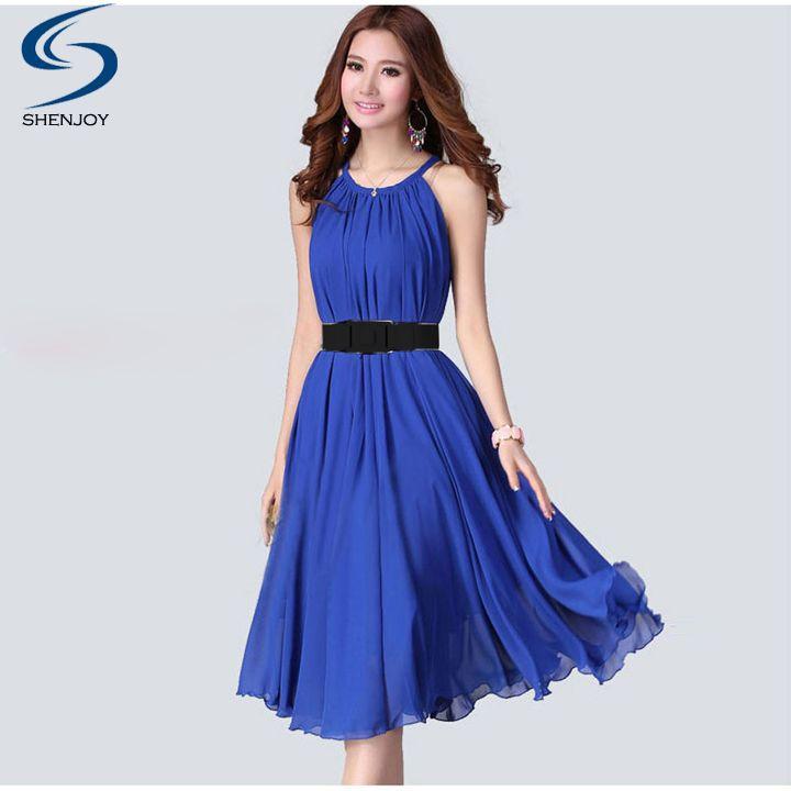 Women Fashion Chiffon Dress Vestido with Belt Hot Selling Halter Sleeveless Pleated Solid A-Line Dress Vestidos 7 colors(China (Mainland))