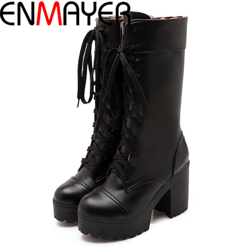 ENMAYER Round Toe Lace-Up Mid-Calf motorcycle boots Womens New Fashion Sexy Martin Boots High Winter Boots Thick crust platform <br><br>Aliexpress