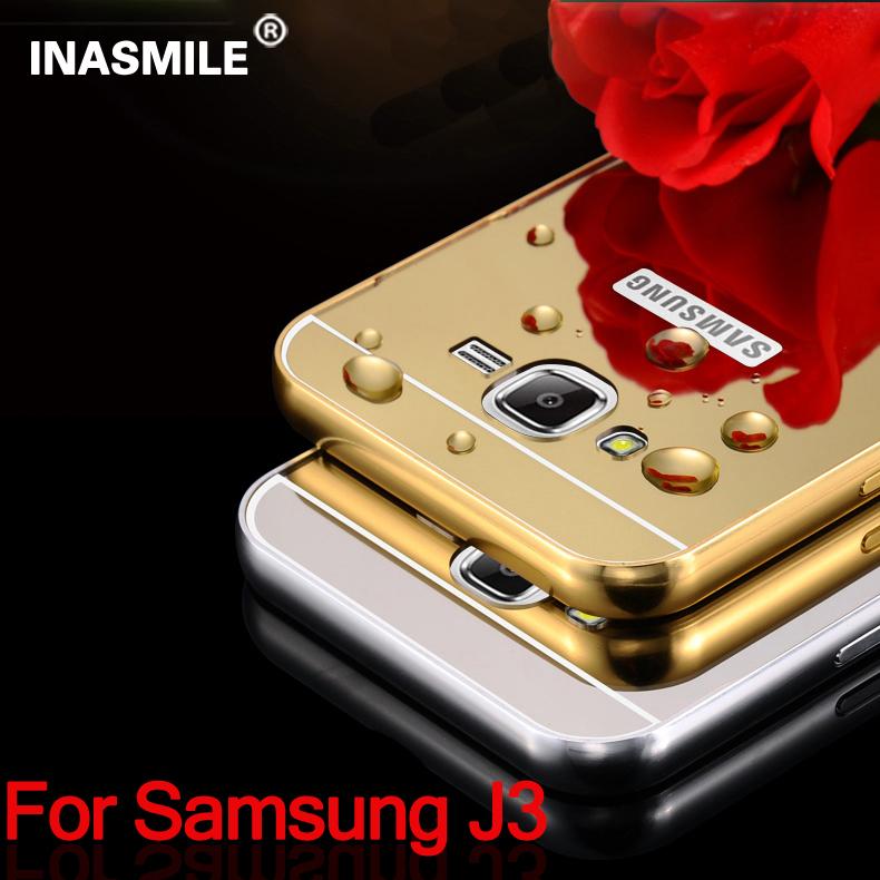Mirror Case Aluminum Frame+Ultra Slim Metal Hard Back Cover Samsung Galaxy J3 MetalEdge Phone  -  Shenzhen Inasmile Technology Co., Ltd. store