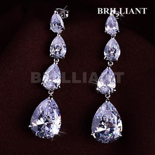 BEH127 Noble Long Bunch Water Drop Dangle Earrings 18K white Gold Plated women Earring Austria Crystals - Brilliant Jewelry store
