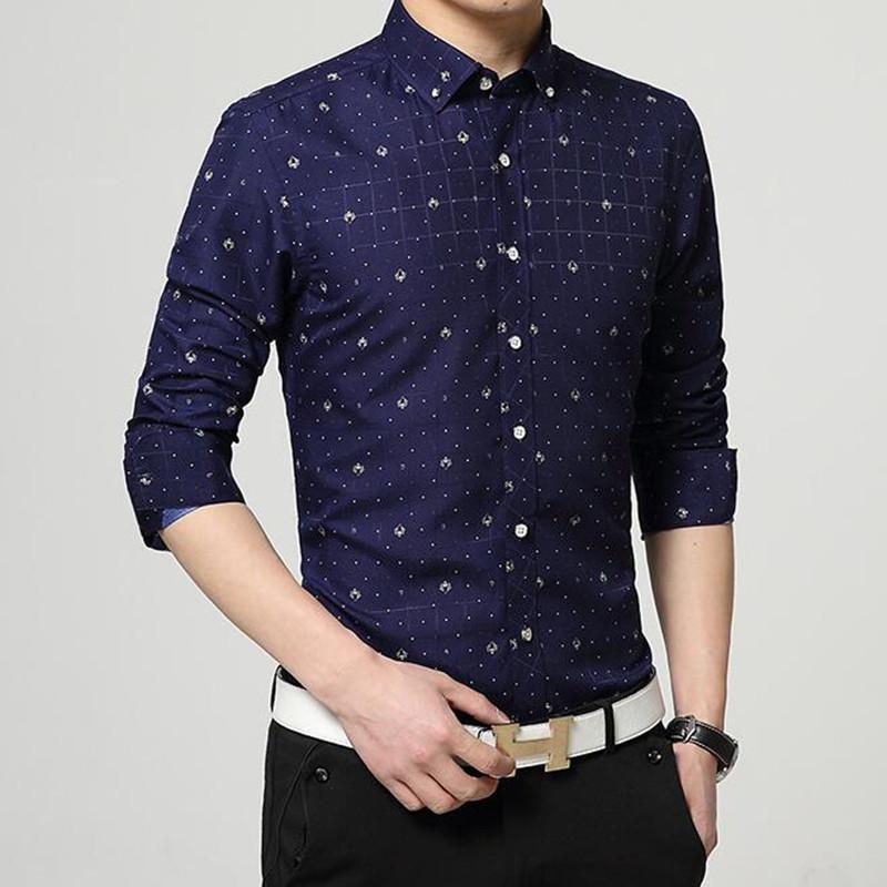 2016 male flower printing long sleeve shirts man slim for Mens printed long sleeve shirts