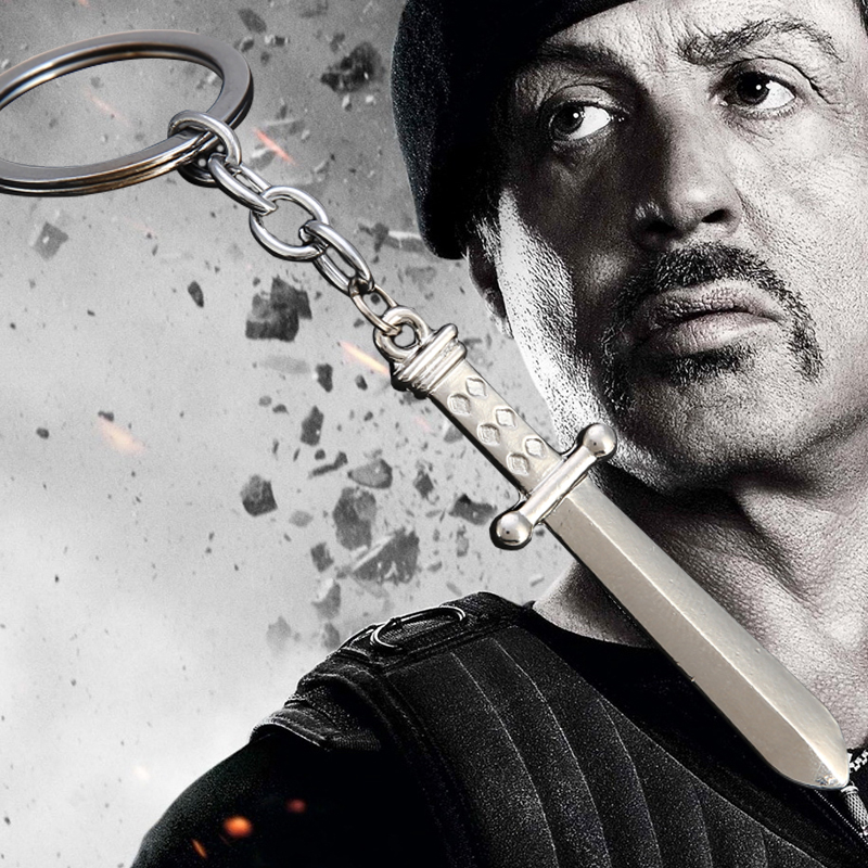 The Expendables Sylvester Gardenzio Stallone Knife Keychain Pendant Azrael Keyring First Blood Rambo Dagger Cosplay Jewelry(China (Mainland))