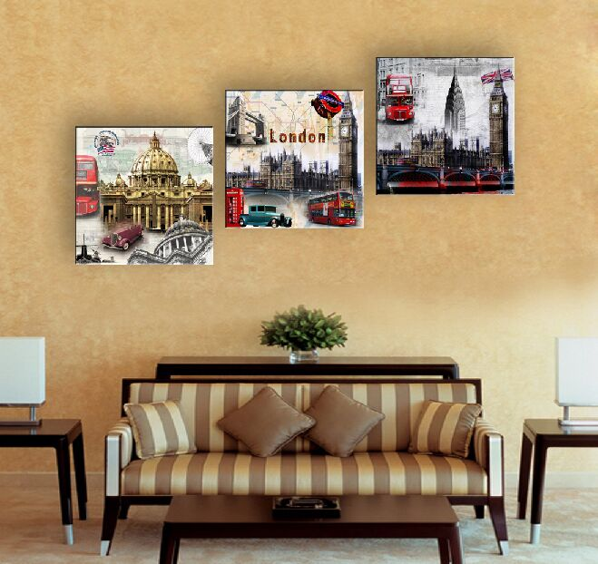 Buy 3 Piece Cheap Abstract Modern Wall Painting Transparent City Home