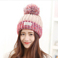 2016 New Fashion Woman s Warm Woolen Winter Hats Knitted Fur Cap For Woman Sooner State