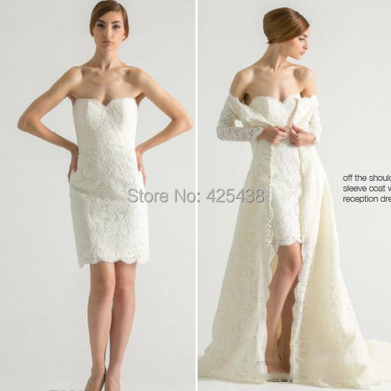 Wedding Gowns With Lace Coat Short Reception Dress Bridal Fall