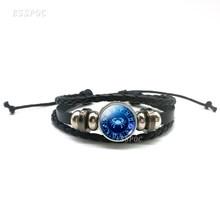 12 Constellation Punk Bracelet Aquarius Pisces Aries Taurus Gemini Zodiac Sign Button Braided Leather Bracelet For Women Men(China)