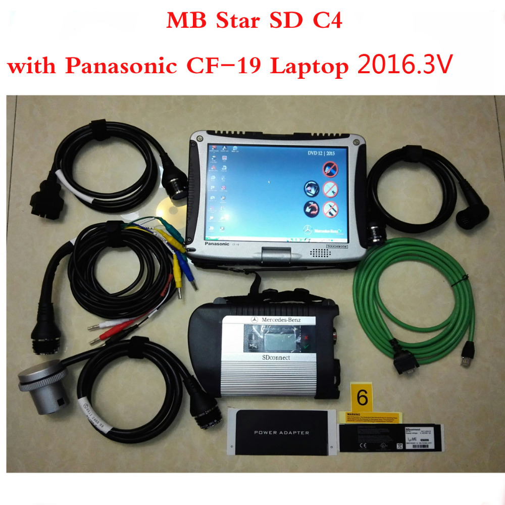 Win7 MB Star C4 SD Connect SSD Xentry Diagnostics System Compact 4 Diagnosis Multiplexer For Benz Car Diagnose with CF19 Laptop(China (Mainland))