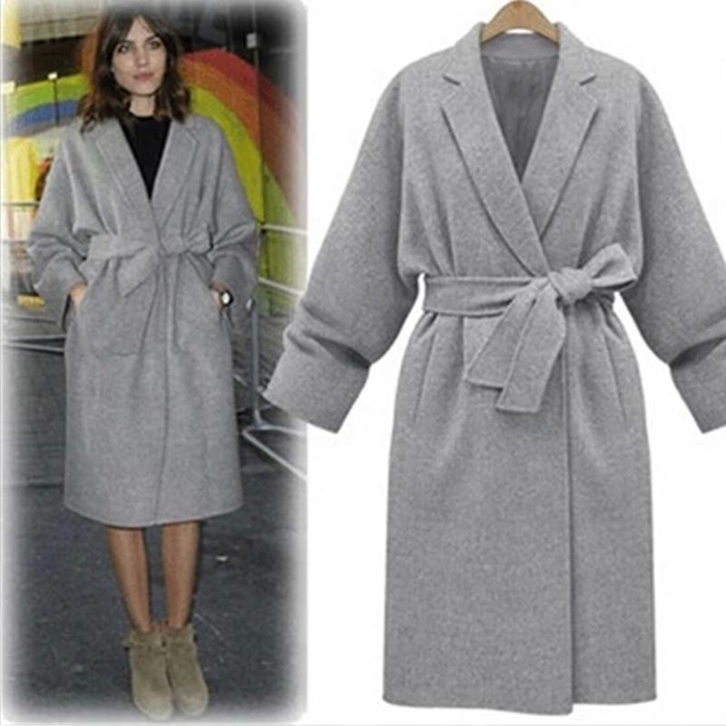 Autumn Winter Adjustable Waist Women Casual Long Sleeve Pockets Shawl Neck Warm Oversized Long Outwear Loose Gray Coat(China (Mainland))