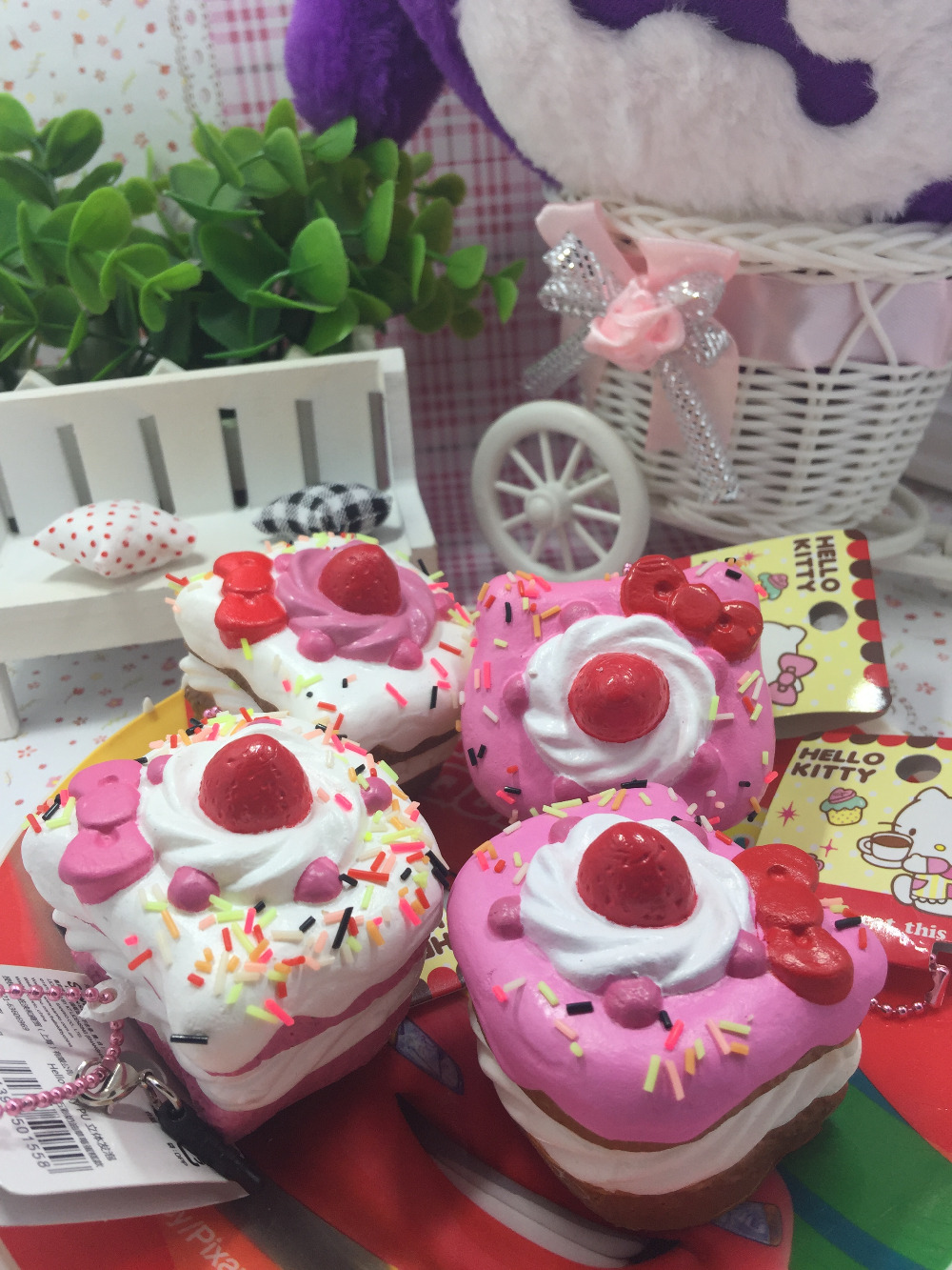original package rare hello kitty squishy sweet cake squishy phone charm pink cell phohe Strap wholesales Squishies 8pcs/lot(China (Mainland))