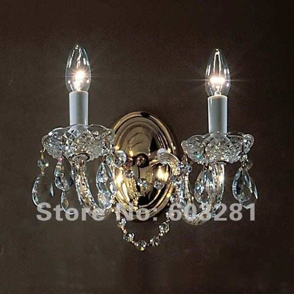 Unfailing Lighting ATN9007,2 Light Crystal Wall Sconce,Chrome Gold, - AUTUMN LIGHTING FACTORY store