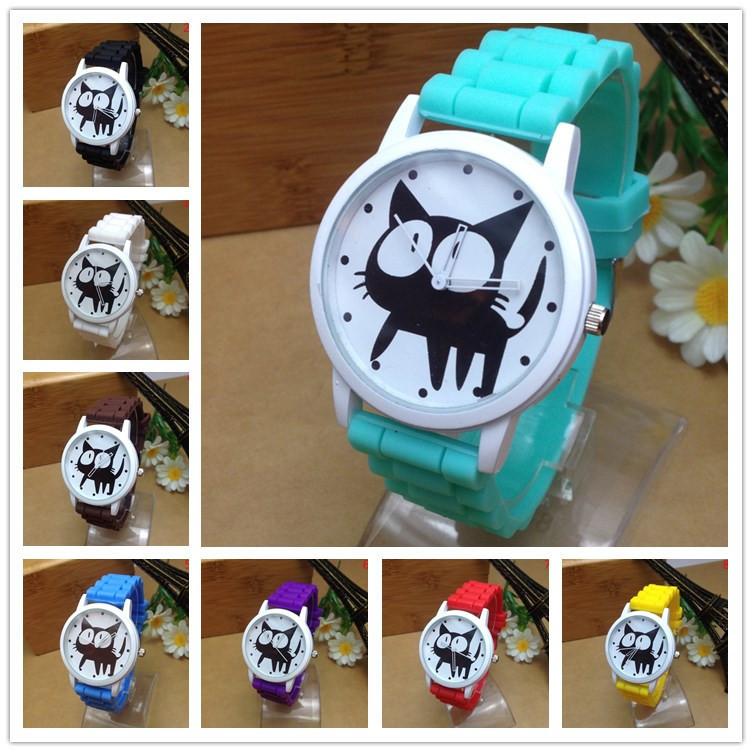 New 2015 Fashion Geneva Cute Cat Cartoon Casual Quartz Watch Women Silicone Watches Relogio Dress Wr