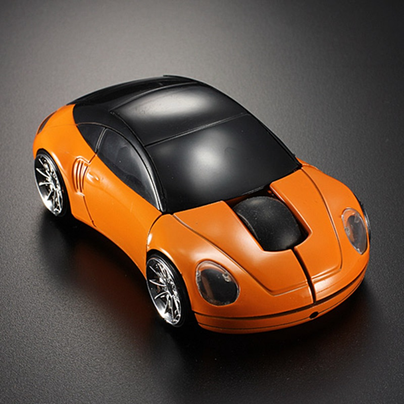 Orange Car Shaped 2.4G Optical Wireless 3D 1600DPI LED Lights Mouse USB Receiver Gaming Mice For Computer PC Laptop High Quality(China (Mainland))