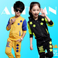 Latest design fancy autumn kids girls boys children clothing set coat pants activewear children two piece