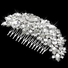 New Arrivals 2015 Luxurious Bridal Wedding Rose Flower Rhinestone Hair Comb Hair Accessory Free Shipping