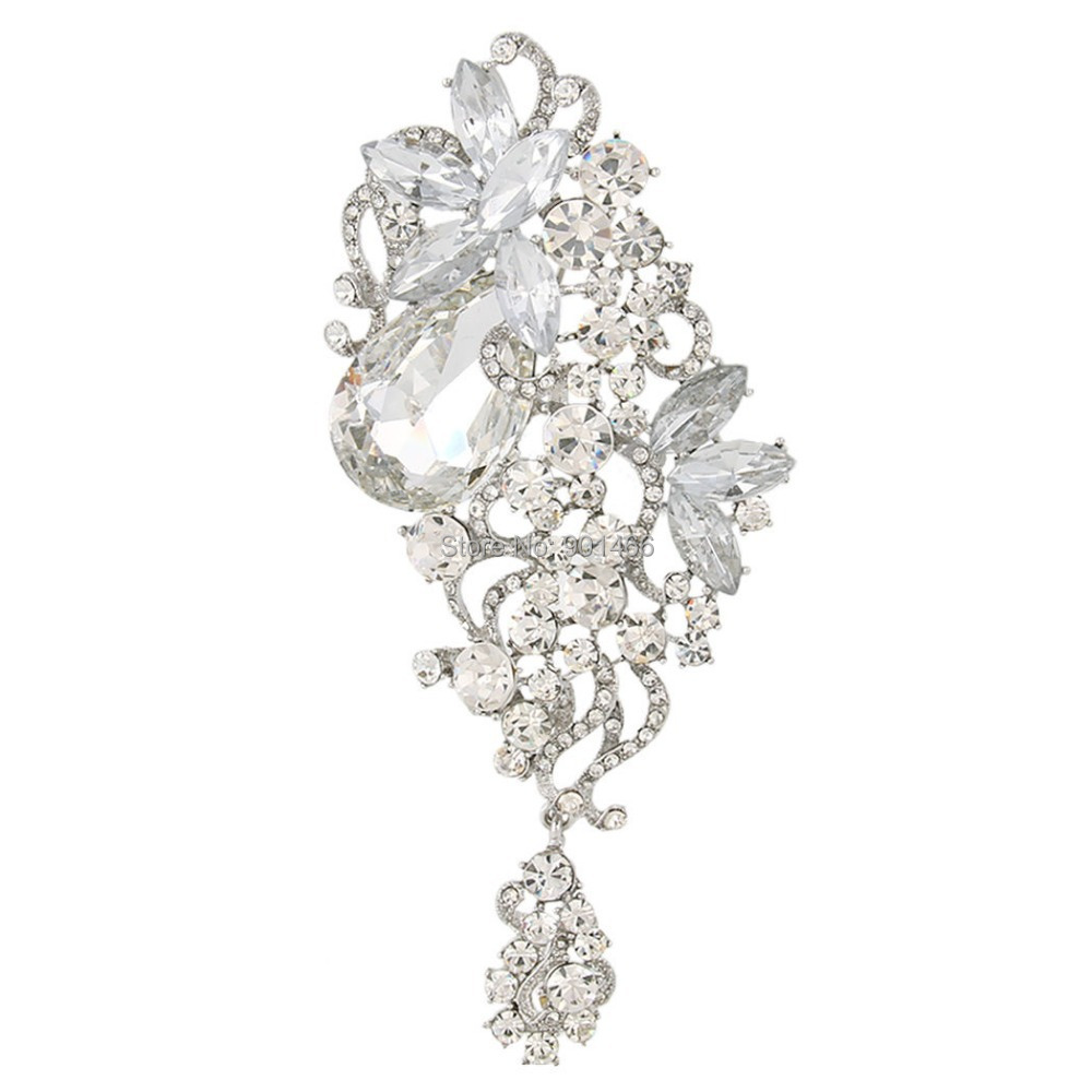 Fantastic Jewelry Women's Accessories Flower Brooches Broach Pin Clear Rhinestone Crystals 12560 - Retail Fashion jewelry store