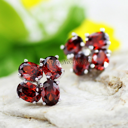 Fashion jewerly 18K gold plated stud earrings earring ethnic red cubic zirconia women - SunFlower Trade Co.,Ltd store