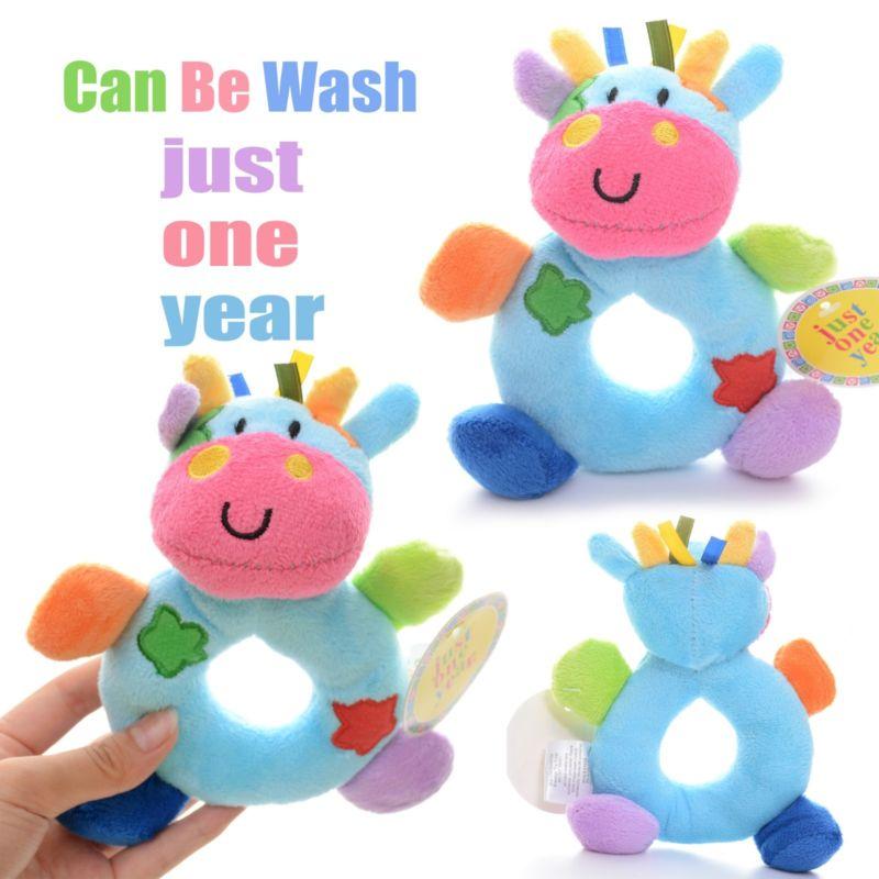# Baby Development Plush Blue Milk Cow Rattles Toy Hand Bell Train Doll 6*4'' New(China (Mainland))
