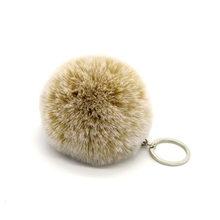 Faux Pele De Coelho Chaveiros Covit Geada Branco Macio Keychain 8 cm Pompom Bola da Chave de Cadeia Para Mulheres Meninas(China)