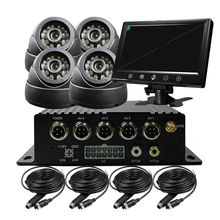 """4CH SD GPS Track Car Vehicle DVR Video Recorder System 9"""" Screen Night Vision CCTV Dome Camera For Truck Van Bus Free Shipping(China (Mainland))"""