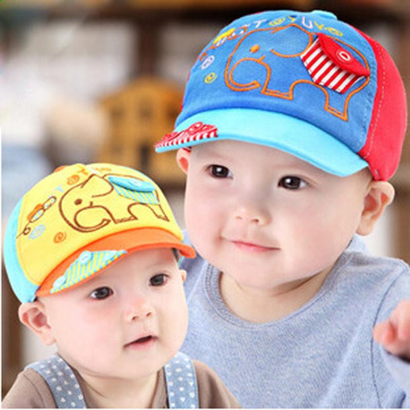 Infant Cap with Elephant Style Pocket for Newborn Baby Boy Girl Hotwire Kids Baseball Cap Cartoon Button 2015 New Fashion(China (Mainland))