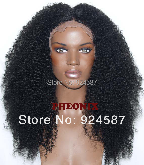 "Hot Glueless Heat Resistant Natural Black/Dark Brown Afro Kinky Curly Synthetic Lace Front Women Wigs #1/#2 (Aurica-22.25""M)(China (Mainland))"