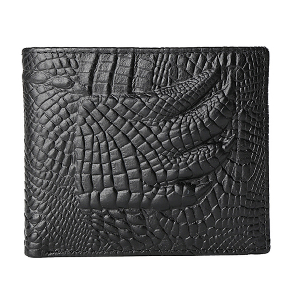 Hot Fashion Business Men Cow Leather Crocodile Pattern Bifold Wallet Men's Wallets Casual Credit Card Holder Purse Free Shipping(China (Mainland))