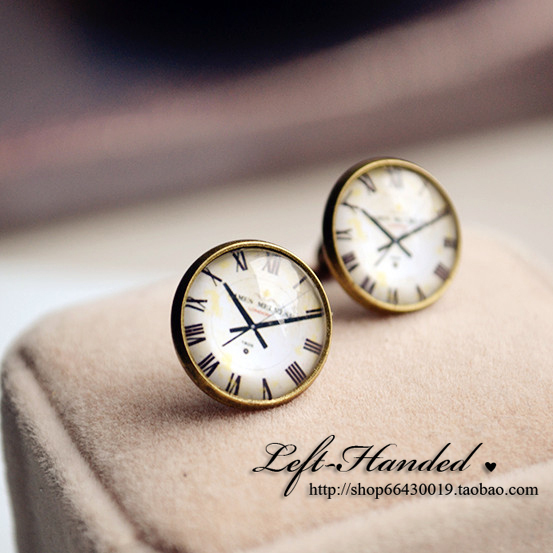 Free shipping~~ Clock vintage handmade time gem stud earring earrings ring gift for the Valentine's day