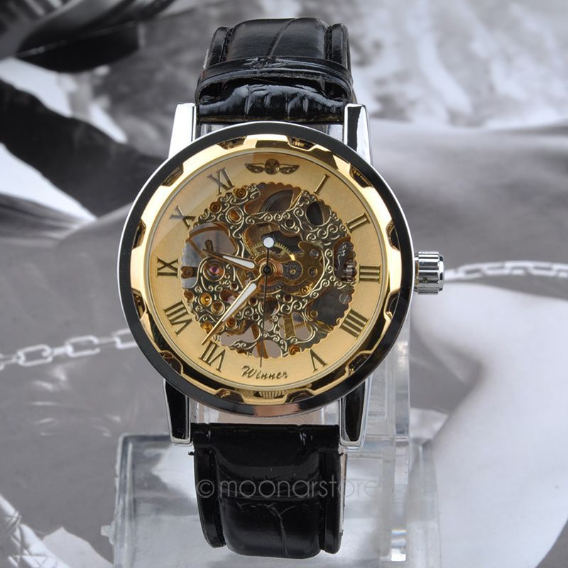 New Famous Brand Winner Luxury Fashion Casual Stainless Steel Men Mechanical Watch Skeleton Watch For Men Dress Wristwatch MHM10(China (Mainland))