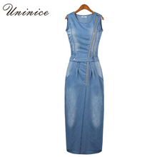 2016 New arrival women summer style fashion denim dress lady sleeveless jeans casual vintage sexy party dresses vestidos 4E1740(China (Mainland))