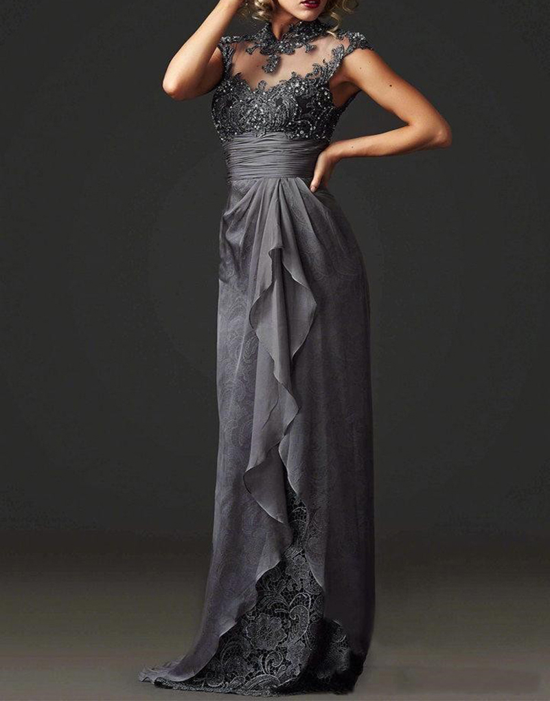 Elegant mother groom evening gowns grey high neck corset for Formal wedding dresses for mother of the bride