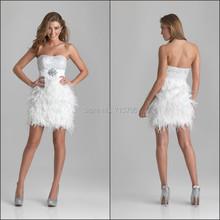 2420s neuankömmling mantel perlen besonderen anlass kurze partei zu tragen 2015 modischen weißen feder cocktailkleid(China (Mainland))