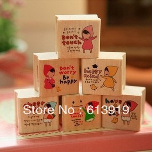 lovely photo album wood stamp little red riding hood rubber DIY funny work - Decoration Sky store