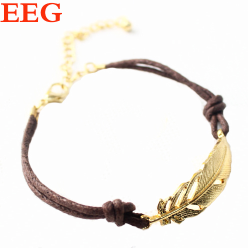 Loom Bands Hot Sale New 2015 Fashion Jewelry For Women Bracelets Bangles Metal Feather Joint Wax
