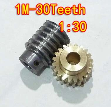 1M-30T reduction ratio:1:30 copper worm gear hole -8MM rod:5mm metal worm reducer transmission parts--D:33MM(China (Mainland))