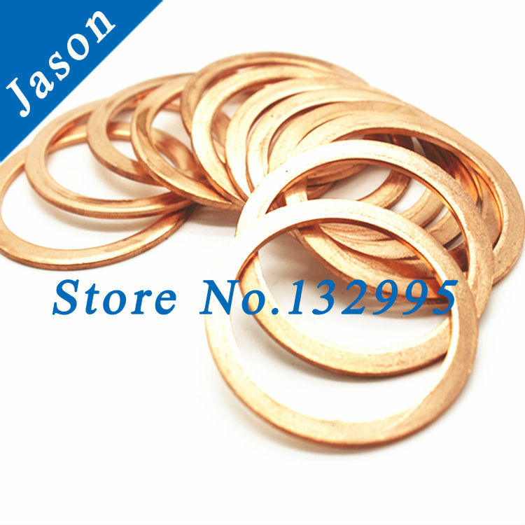 M10 (10mm*18mm*2mm)  Copper Flat Washer, Seal washer, Brass washers, Copper Washer M10<br><br>Aliexpress