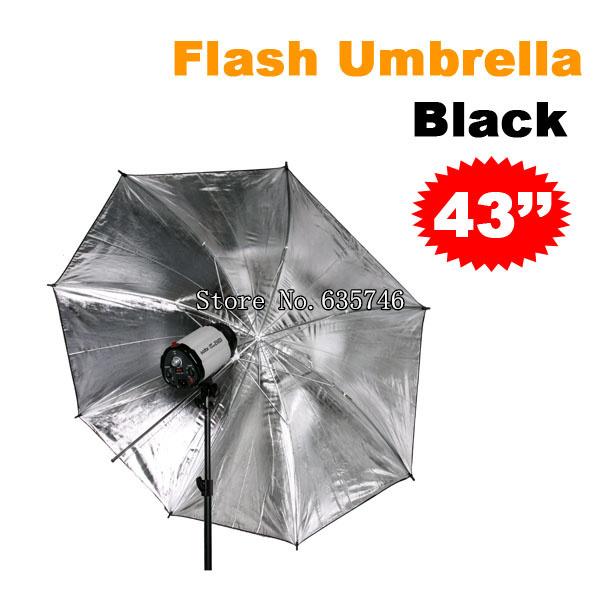 43 inch Studio Flash Light Reflector Black Silver Umbrella Photo Accessories - electronic photographic equipment store
