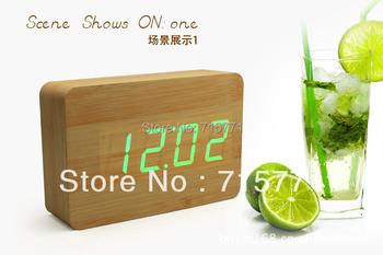Creative retro LED wooden modern alarm clock multiple sets alarm clocks electronic bell desk clock led clock