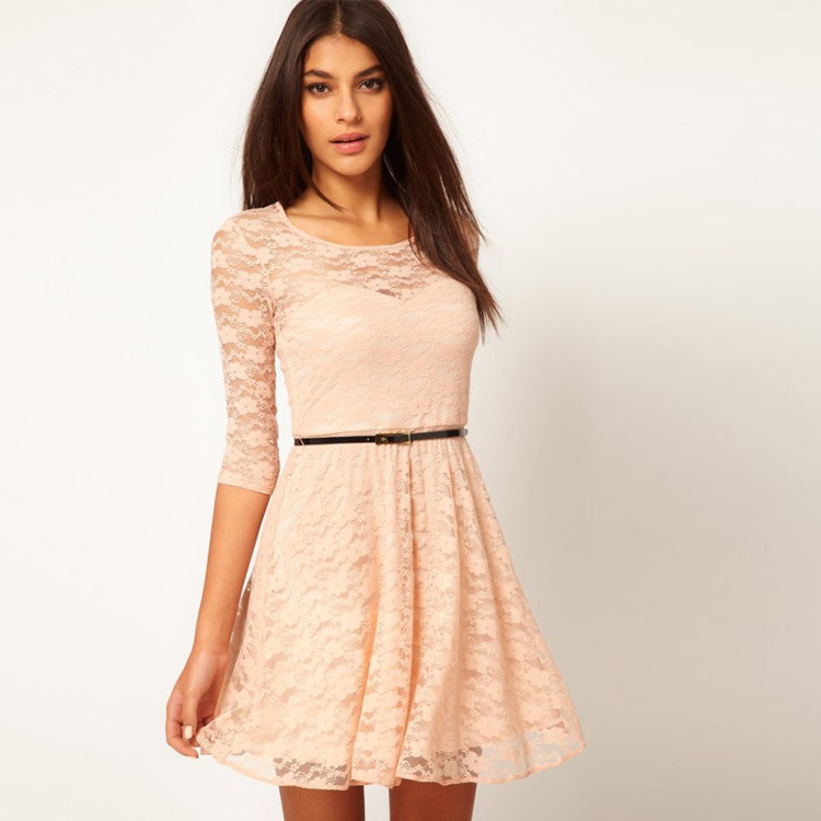 Womens Lace Dresses With Sleeves