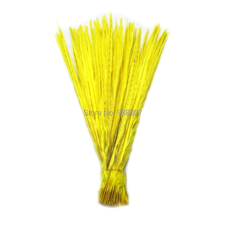 3Quality Dyed Yellow Pheasant Tail feathers 20-22''/50-55cm OT1-2 - TiTi Feather Market store