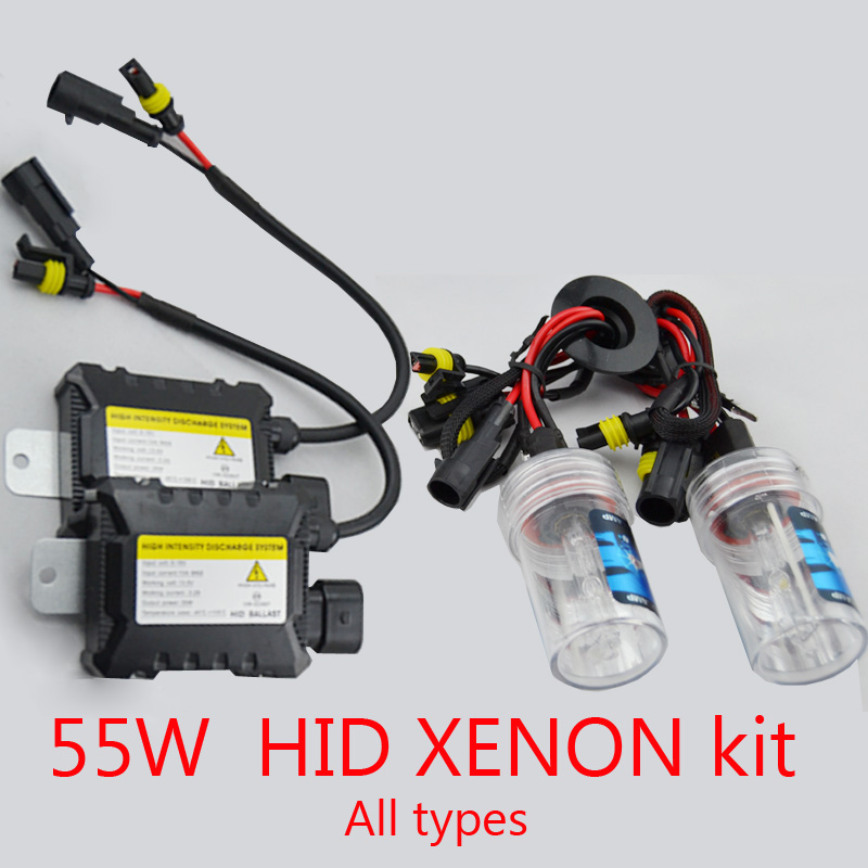 xenon hid conversion kit 55W H1 H3 H4 H7 H8 H10 H11 H9 H11 H13 9005 9006 9007 lamp with silm ballast blocks for car headlight(China (Mainland))