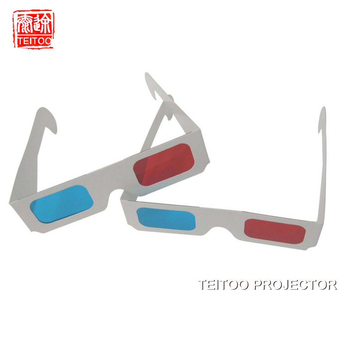 Paper 3D Glasses, Anaglyph Red Cyan Red Blue 3D Glass FOR LCD LED DLP MINI PORTABLE 3D Projector(China (Mainland))