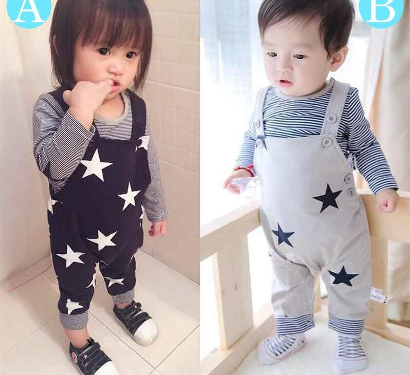 Retail 2016 Long sleeve t-shirt+suspenders baby boy 2pcs clothing set cotton Autumn t-shirt straps star infant girl clothes suit(China (Mainland))