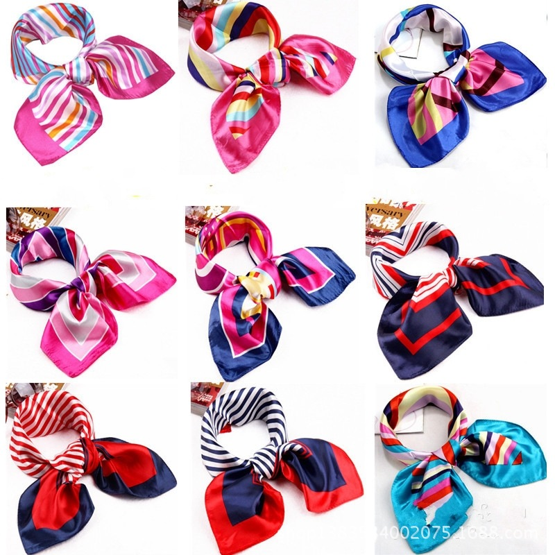 2015 New Scarf Occupation Mobile Telecommunications Hotel Airline Stewardess Scarf Print Small Towel Satin Spinning 50*50(China (Mainland))