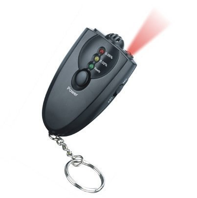 Free Shipping!!Breath Alcohol Tester Key chain 3 test step with indication 0.02-0.05% LED Torch