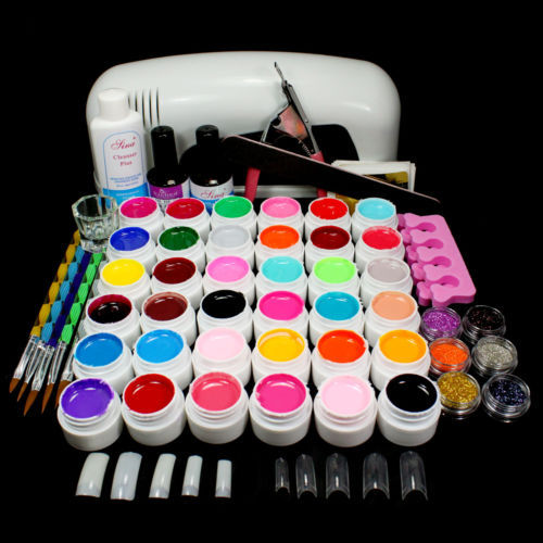 BTT-84PRO 9W UV White Lamp 36 Color Pure UV GEL Powder Acrylic Brush Nail Art Tool KIT(China (Mainland))