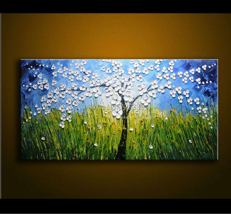 Hand painted canvas art palette knife thick paint blue and for White canvas to paint