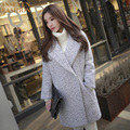 Women Tweed Jacket 2016 Winter Autumn Ladies Outerwear Basic Style Long Wool Blends Coat Color Gray