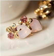 Free Shipping Wholesale Loving Ladies Bow Inlaid Zircon Crystal Earrings Jewelry Accessories