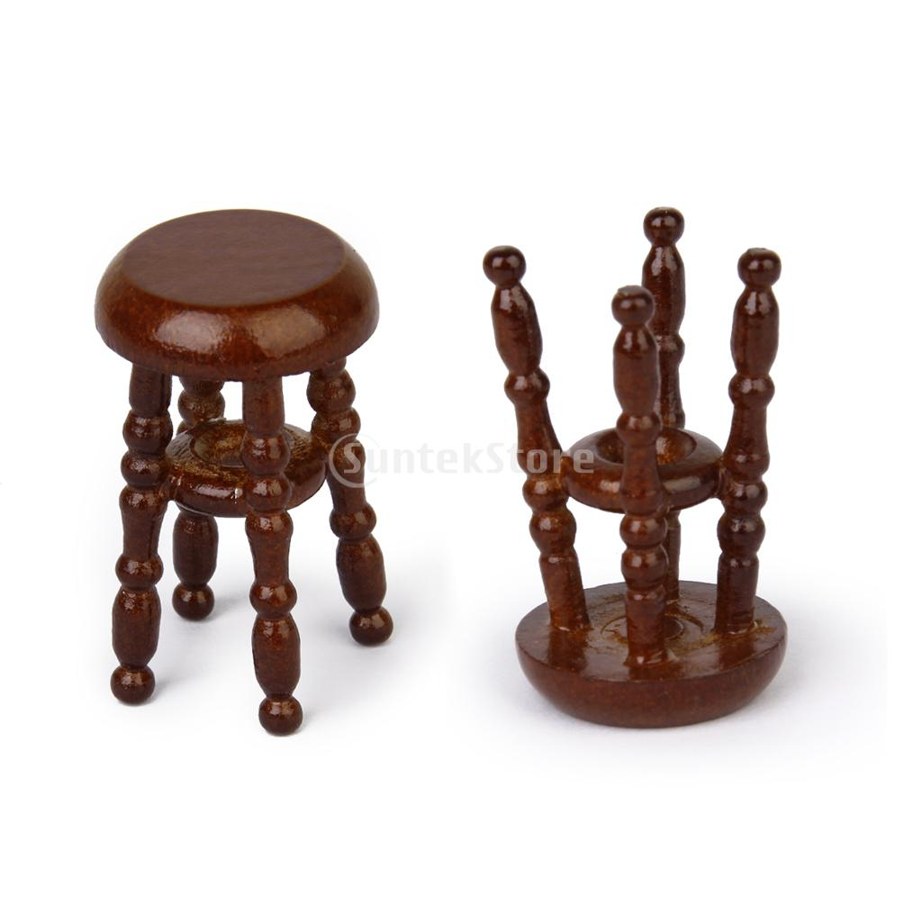 Superb img of New 2014 2Pcs 1/12 Dollhouse Miniature Wooden Pub Bar Stool Barstool  with #452017 color and 1024x1024 pixels